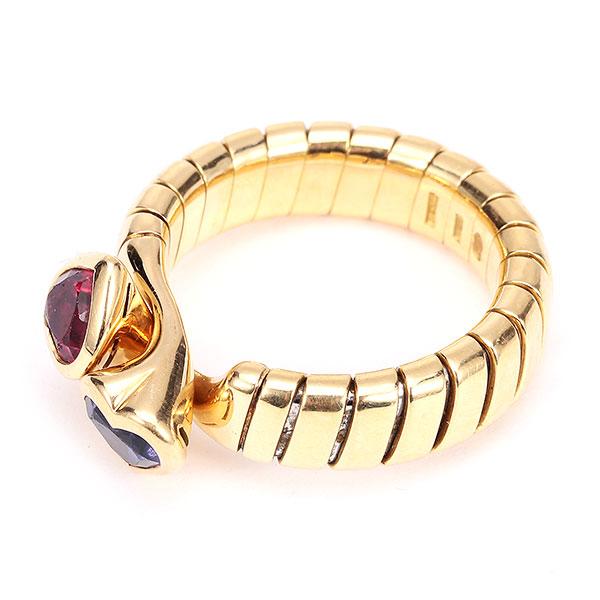 bvlgari(宝格丽) 18k黄金红/蓝宝石蛇戒