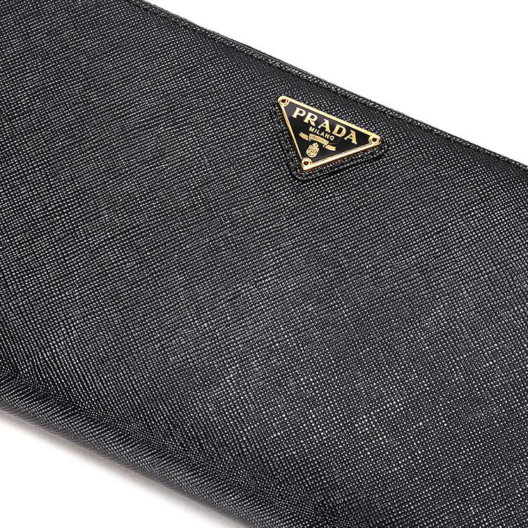 prada(普拉达) 黑色皮质拉链手包