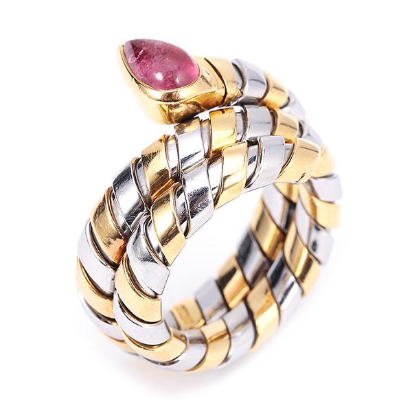 bvlgari(宝格丽) 18k黄金/钢镶宝石蛇戒