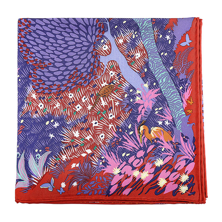 hermes(爱马仕)砖红色边动物图案丝巾90图片