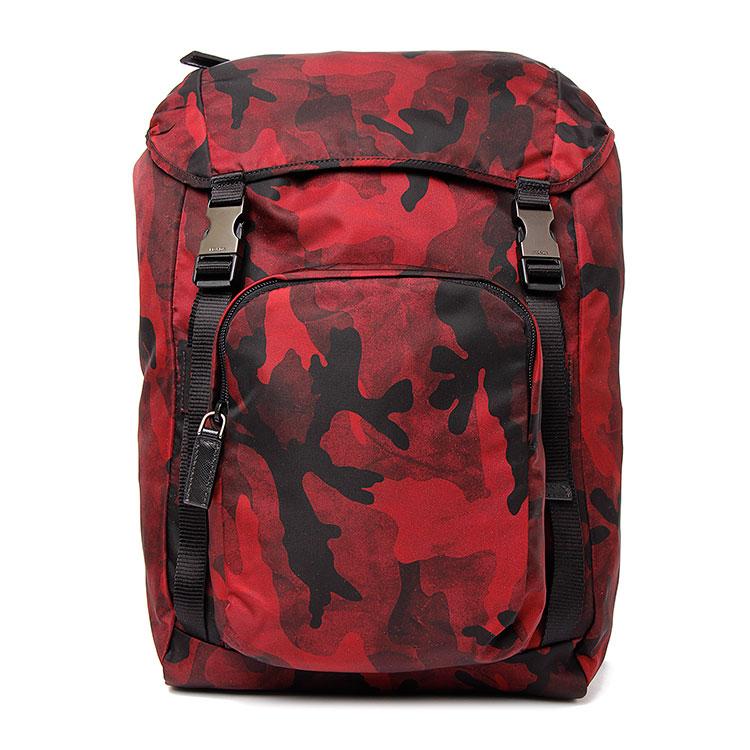 prada(普拉达) 红/黑色尼龙迷彩背包