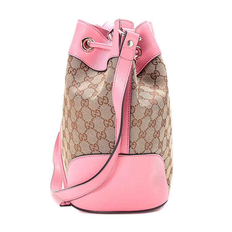 卡其色帆布粉色配皮水桶包