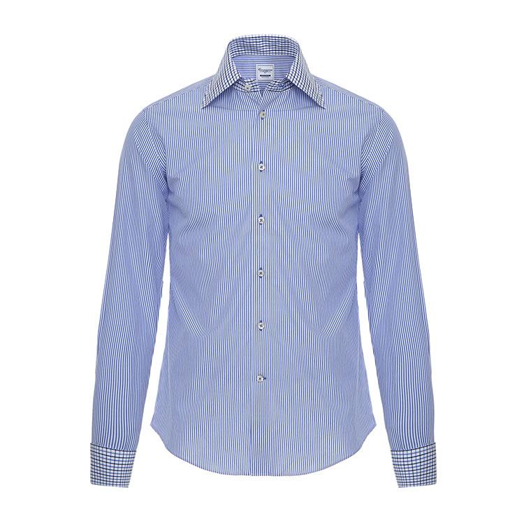 男士深蓝免烫长袖衬衫