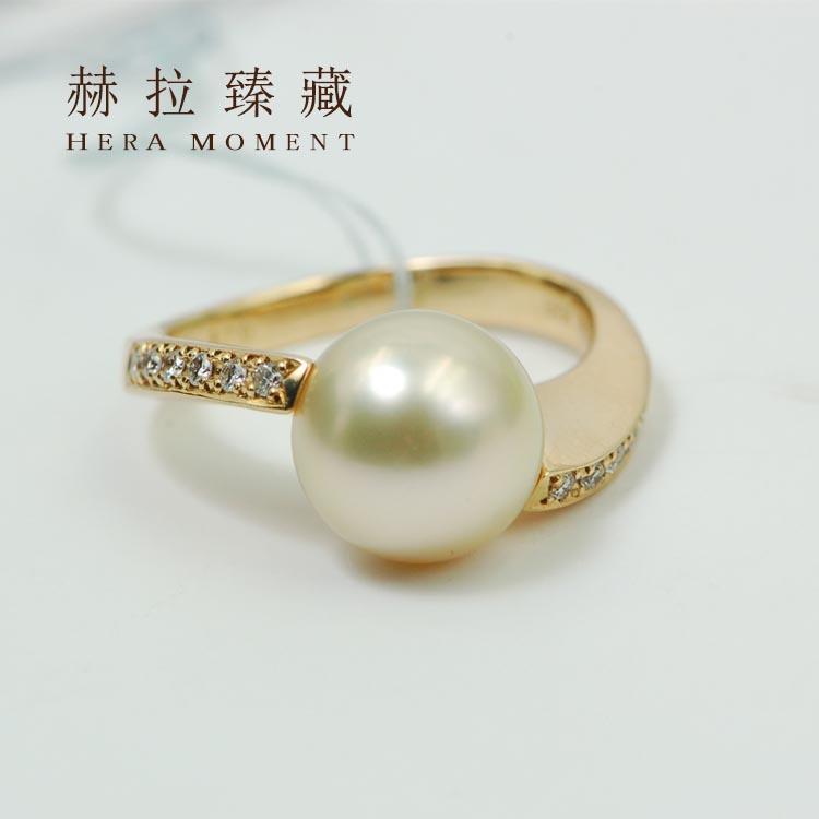 18k黄金金珠戒指图片