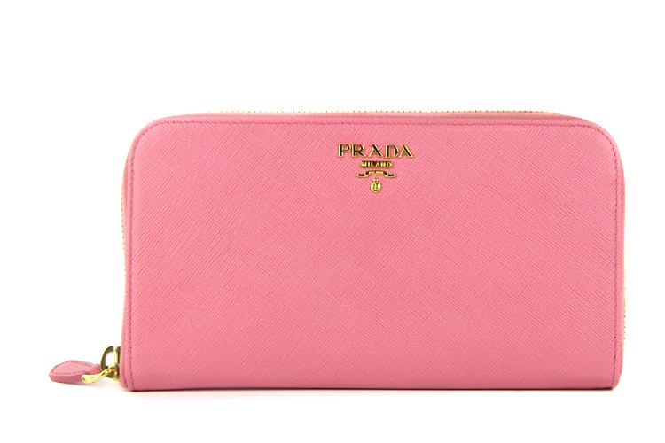prada普拉达 桃粉色牛皮长款女士钱包/手包