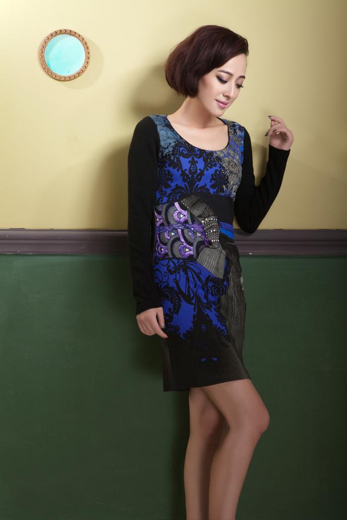 外模展示蓝色旗袍