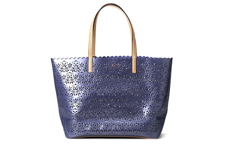 女士牛皮蓝色镂空雕刻手提包