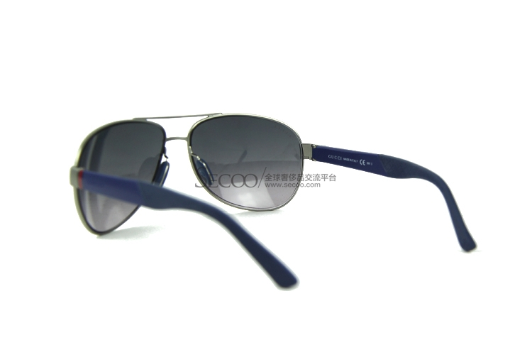 gucci古驰蓝色镜架浅色男士太阳镜 墨镜