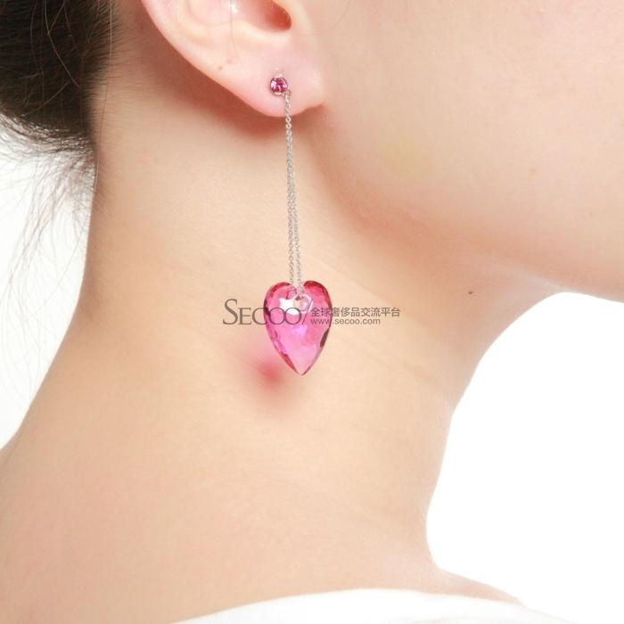 swarovski施华洛世奇紫红色心形水晶耳环 1076320