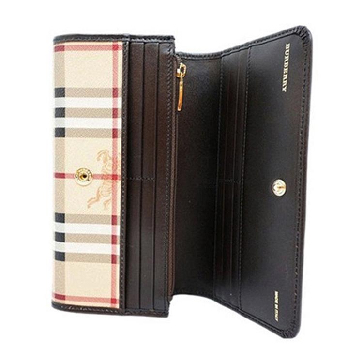 burberry/博柏利 女士咖啡色格纹长款钱包钱夹 3855846