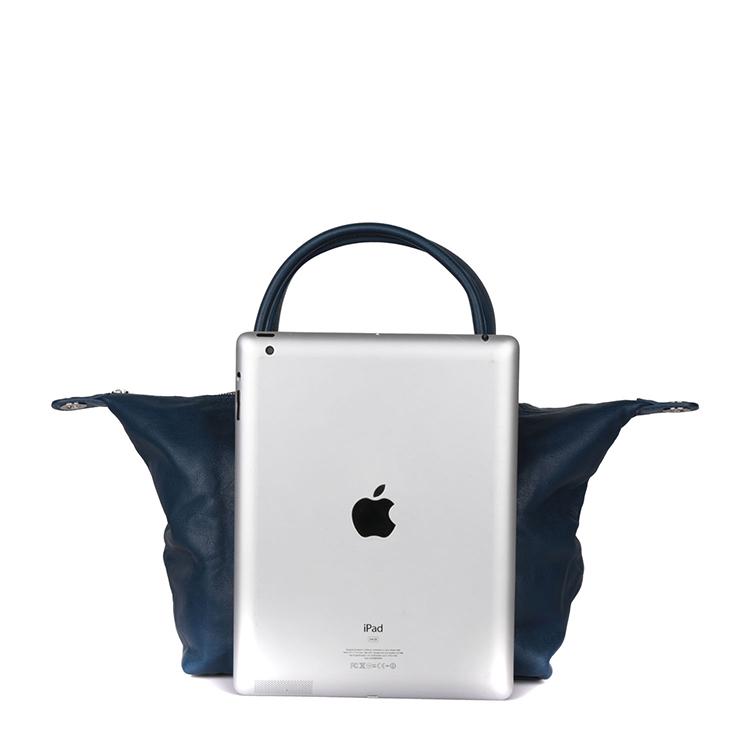 longchamp/珑骧女款橙色/深蓝色羊皮折叠式水饺包皮/单肩包 1512
