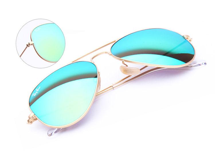 ray-ban/雷朋 情侣款墨镜 金边框绿色镀膜反光太阳眼镜 3025 112/19