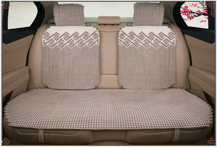 尼罗河坐垫 纯手工编织冰丝汽车座垫通用坐垫 米驼色 五座