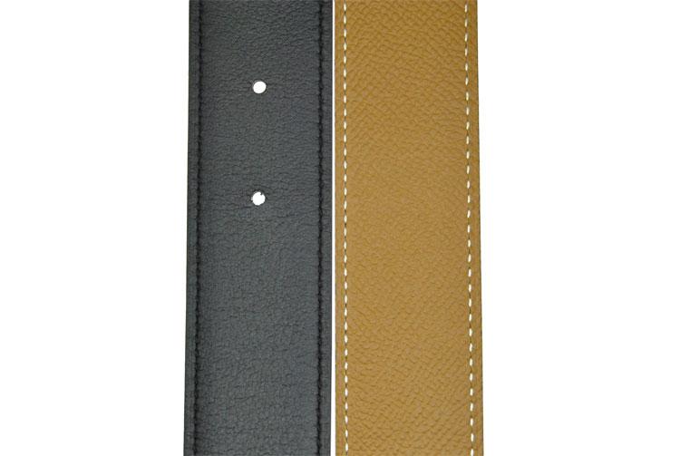 hermes/爱马仕 窄款金色拉丝扣腰带 双面可佩戴 黑浅棕色 90cm