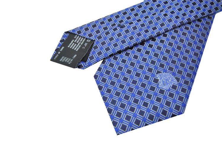 男士底深浅蓝格子花纹logo刺绣领带