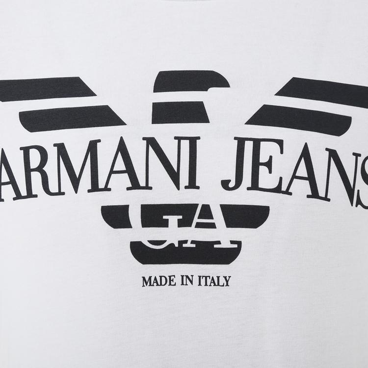 armani jeans/阿玛尼牛仔 白色鹰标logo图案棉质短袖男士t恤a6h06